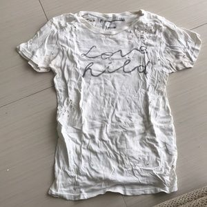 white ripped t-shirt with love child